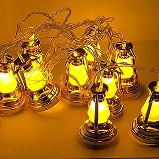 فوانيس رمضان لون ذهبي اضاءة صفراء 10 فوانيس بالسلك طول 2.5 م