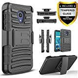 Circlemalls AT&T Axia Case, with [Tempered Glass Screen Protector Included], Built-in Kickstand Belt Clip Holster Heavy Duty Protective Phone Cover Bundled and Stylus Pen-Black