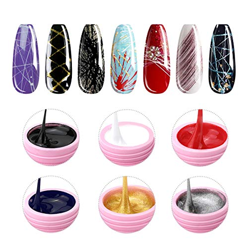 6 Colors Spider Gel, Saviland matrix Gel with Gel Paint Design Nail Art Wire Drawing Gel for Line...