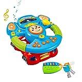 deAO Volante y Llavero de Juguete con Rotación de 360°,Efectos de Luz y Sonido Musical para Niños y Niñas - Juego Infantil para Desarrollo de Motricidad Fina y Sentidos
