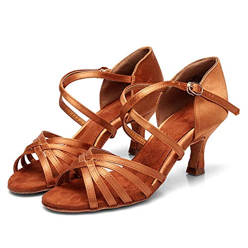 WDRSY Calzado De Danza para Mujer Zapatos De Baile Latino De 7.5 Cm Zapatos De Baile Profesionales Femeninos Transfronterizo Estándar Nacional De Baile Latino Mujer Adulta Zapatos De Baile Latino