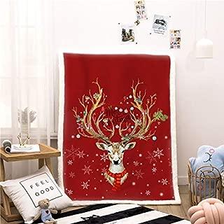 NTBED Christmas Deer Printed Sherpa Fleece Blanket Fuzzy Reversible Ultra Soft Plush Microfiber Throw Blanket for Sofa Couch (Christmas-Deer, 60''x80'')