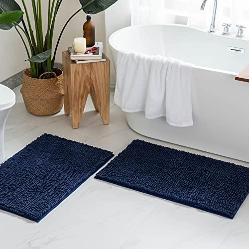 MIULEE 2 Piezas Alfombra de Baño Chenille Suave Antipolvo Alfombra de Felpa Antideslizante para Dormitorio Pasillo Puertas de Entrada Sala de Estar Cocina 40 cm x 60 cm Azul Oscuro
