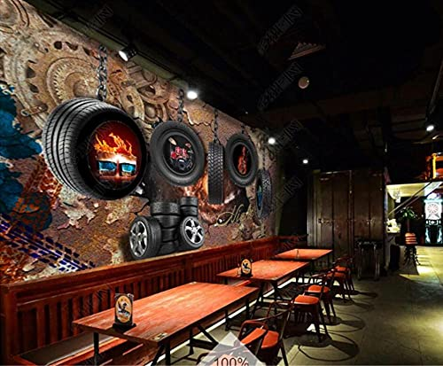 LZQMO Papel Tapiz Retro óxido Engranaje neumático Coche Fondos de Pantalla decoración Industrial Restaurante Bar Herramienta Fondo Mural Papel de Pared 3d-3D_350x245cm