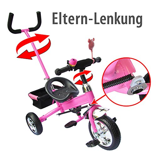 M & G Techno kinderdriewieler kinderfiets kinderdriewieler vanaf 2 jaar kindervoertuig - stuurstang servolverlaging schuimrubber roze