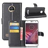 Qiaogle Téléphone Coque - PU Cuir Rabat Wallet Housse Case pour Motorola Moto Z2 Play (5.5 Pouce)...