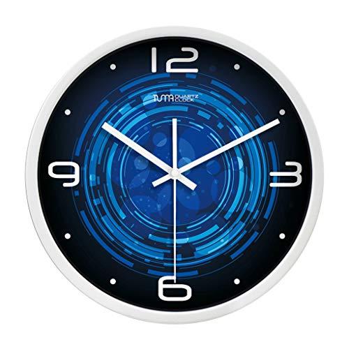 Everyday home Horloge muette intérieure horloge murale sans cadre Horloge murale facile à lire Horloge à quartz à fonctionnement batterie numérique (Couleur : Blanc, taille : 12 pouces)