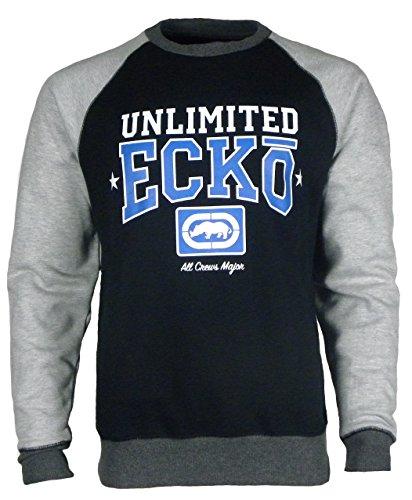 Ecko Sweat-shirt à col rond en polaire à manches longues pour homme - Noir - petit