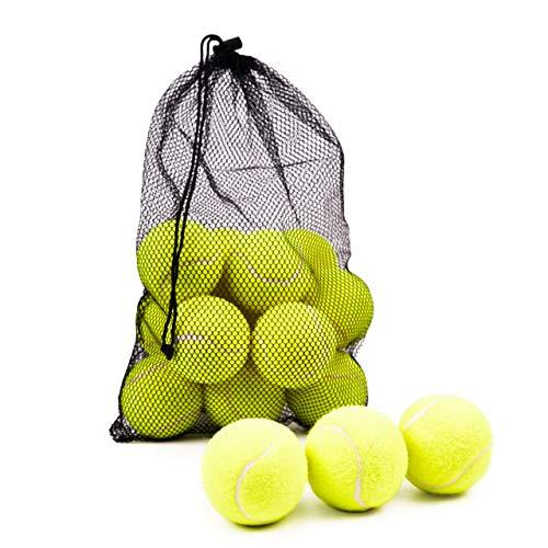 BRAMBLE! 15 Pelotas de Tenis - Bolas de Tenis con Bolsa de Malla de Transporte | Bolas de Práctica - Niños Adultos Mascotas Deportes Entrenamiento