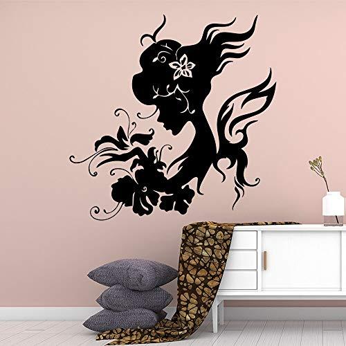JXMN Hermosa Hermosa Chica Tatuajes de Pared decoración del hogar Tatuajes de Pared decoración Vinilo Pegatinas de Pared para habitación de niños 60x60 cm
