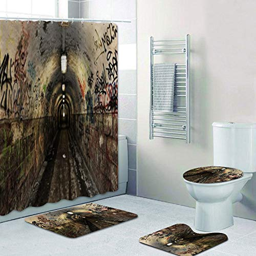 Keainideni Badmat, 3D-geek-look, lang, voor badkamer, 4-delige set, gothic-ladder in het slot