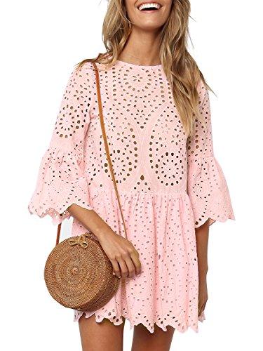 Simplee Women's Elegant Half Flare Sleeves High Waist Hollow Out Mini Dress, Pink, 4/6, Small