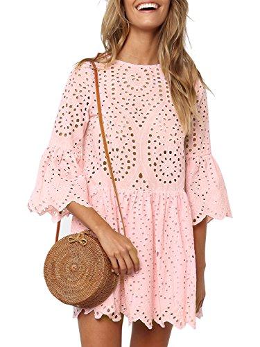 Missy Chilli Damen Kleid Kurz Sommer Elegant Langarm O Ausschnitt Baumwolle Spitze Mini Kleid Knielangkleid Dress mit Trompetenärmel Rosa