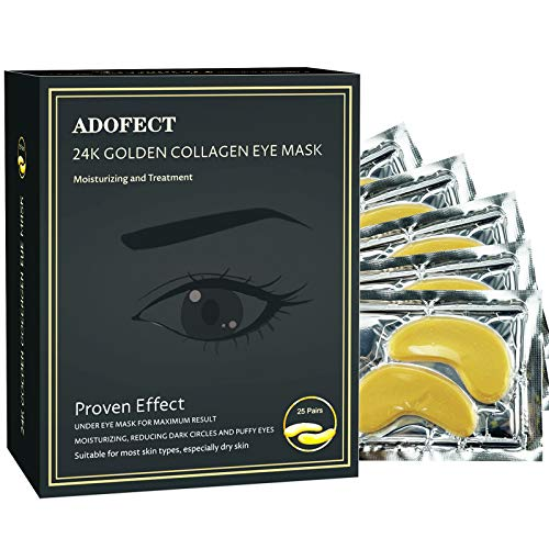 Adofect 25 Pairs Gold Collagen Eye Mask 24k Crystal Under Eye Patches for Moisturizing & Reducing Dark Circles, Puffiness and Wrinkles