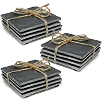 com-four® 12x montaña de pizarra natural con patas de goma antideslizantes, tapetes cuadrados con bordes lisos, 10 x 10 cm (12 piezas - pizarra angular)