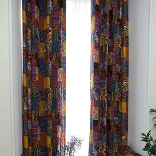 YAHLSEN Böhmische Retro- ethnische Art Wohnzimmer Study Baumwolle und Leinen Halb Blackout Vorhang, Spezifikation: 140 × 215 Stempel (Patch Vorhang) Q (Color : Patch Curtain)