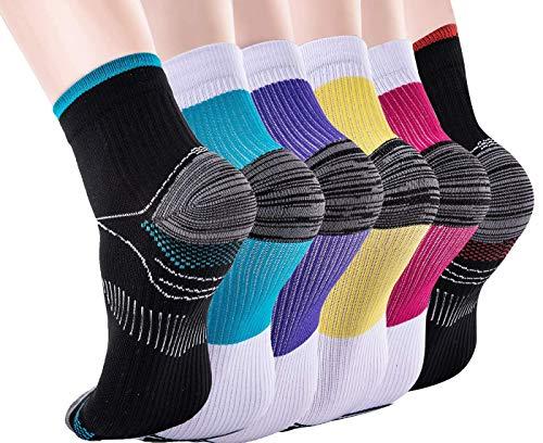 Chaussettes de compression pour femmes et hommes-Support amélioré pour arcade de fasciite plantaire sportive,Idéal pour les sports sportifs, course à pied, médecine, voyage(6 paires)