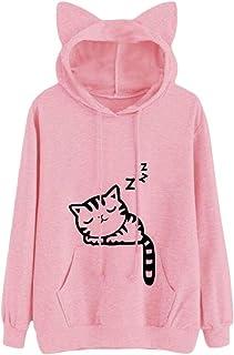 omniscient Women Big Pocket Hood Long-Sleeves Lovely Hoodies Pullover Print Sweatshirt