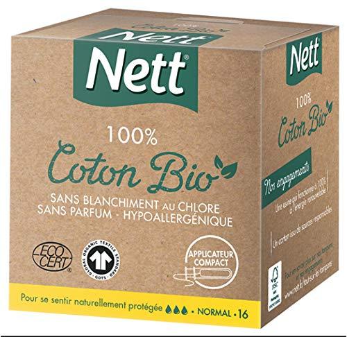 Nett Tampon Normal avec applicateur - 100% Coton Bio - La boîte de 16