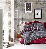 Leonado Vicenti - Bettwäsche 4teilig grau Baumwolle 135x200 oder 155x220 gestreift modern Schlafzimmer Garnitur Set Bezug Decke (Grau, 135 x 200 cm) - 6