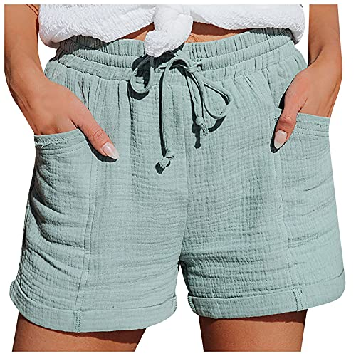 Pantalones Cortos de Color Liso con Bolsillos para Mujer Pantalón Cortos de Cintura Alta con Cordón Shorts con Cintura Elástica Pantalones Cortos Moda Pantalón Cortos Casual Verano
