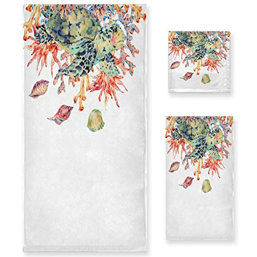 Naanle Juego de 3 toallas de baño acuarela, diseño de tortuga, coral y mar, algodón altamente absorbente, toalla de baño grande+toalla de mano+toalla, paquete de 3 toallas suaves para decoración