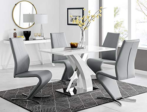 Atlanta 4 Rectangle White High Gloss Chrome Metal Modern Stylish 4 Seater Dining Table and 4 Premium Willow Dining Chairs Set (Dining Table + 4 Elephant Grey Willow Chairs)
