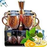 Copper Mugs, Moscow Mule Copper Cups Set of 4, Food Safe Pure Solid Brown Barware with Brass Handle...