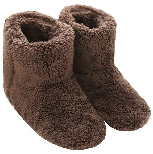 Mianshe 北欧 ルームシューズ もこもこ ルームブーツ 暖かい ボアスリッパ 男女兼用 (ブラウン Lサイズ 27cmくらいまで)