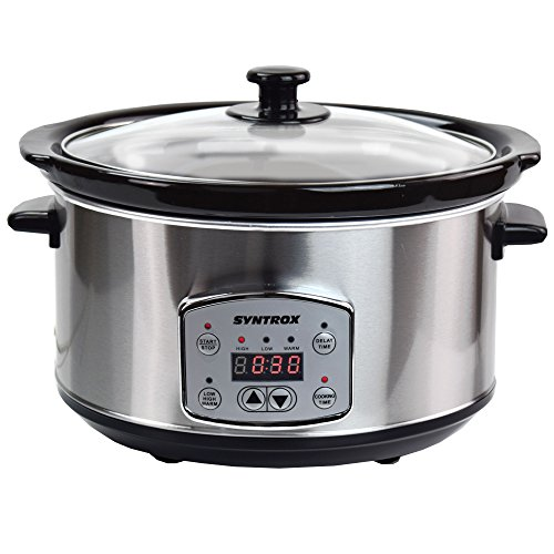 Syntrox Germany SC-350D 3,5 Liter Digitaler Edelstahl Slow Cooker mit Timer und Warmhaltefunktion, stainless_steel
