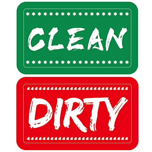 Dishwasher Magnet Clean Dirty Sign, Strongest Magnet Double Sided Flip with Metal Plate,Bonus Magnetic Plate for Kitchen Organization and Storage (Red-Green)