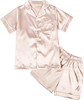 Weixinbuy Unisex Kids Boys Girls Pajamas Set Button-Down Silk Nightwear Sleepwear Loungewear Clothing Set 2 Pieces