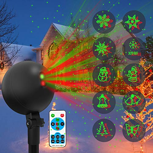 Christmas Lights Projector Laser Light Xmas Spotlight Projectors Waterproof Outdoor Landscape Spotlights for Holiday Halloween Yard Decorations (Multi-Colored)