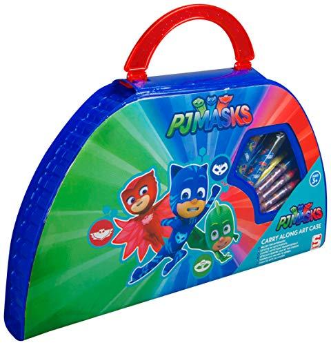 Sambro PJM-4139 Malkoffer mit Farben und Stiften, PJ Masks, 50 teilig, bunt