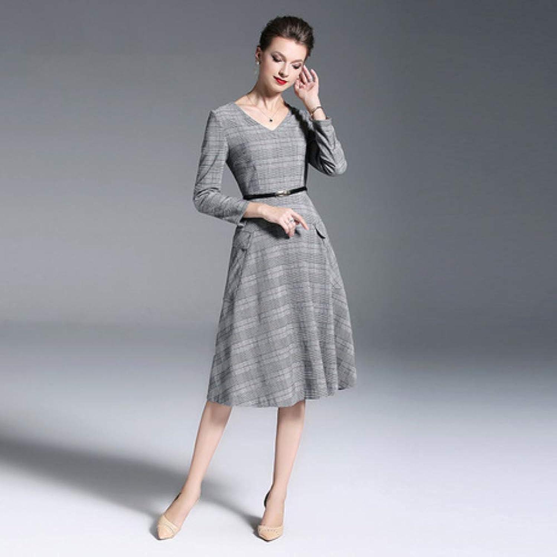 CVCCV 2019 and Winter Base Dress LongSleeved VNeck Plaid Tie Waist Long Paragraph A Word Skirt Temperament Lady