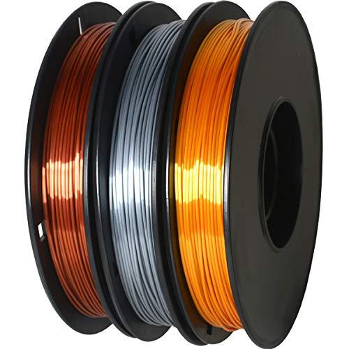 GIANTARM Filamento Silk PLA 1.75mm, Stampante 3D PLA Filamento 0.5kg Spool, 3 Bobine (Oro+Argento+Rame)