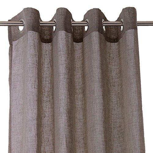 Ösenschal Gardine Baumwoll Leinen Optik Vorhang einfarbig 140x245cm Dunkelbraun