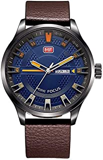 Mini Focus Casual Watch for Men , Analog , Leather Strap , Brown , MF0028G-02
