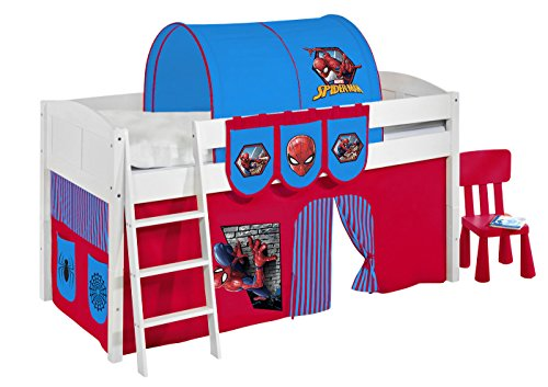 Spielbett IDA 4106 Spiderman - Teilbares Systemhochbett LILOKIDS - weiß - mit Vorhang