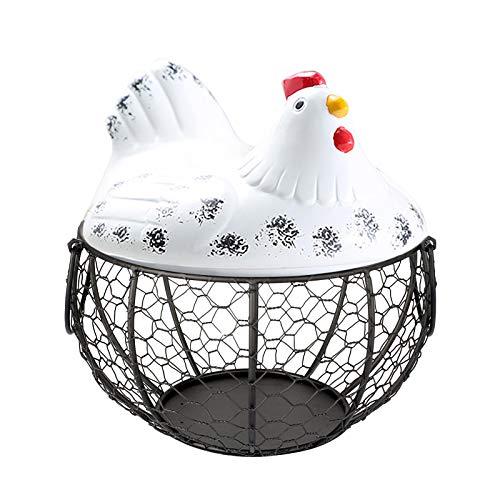 Panier à œufs créatif en forme de poule pour la décoration de la maison, la cuisine, le rangement d'œufs en métal, en céramique, modèle de poule - Multifonction (B#04)