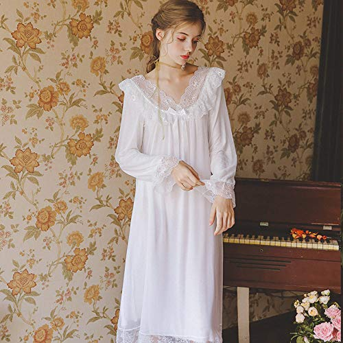 YPDM Bademantel,Damen nachtwäsche Kleid Frau Herbst Spitze Langarm Nachthemd Vintage Nachthemd hülse romantische Prinzessin nachtwäsche für Frauen, weiß, s