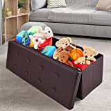 Giantex 45' Folding Storage Ottoman Bench Tufted Faux Leather Coffee Table Foot Rest Stool Seat Padded Seat Storage Chest, Brown