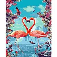 大人のためのDIYアクリル画学生番号による色フラミンゴ動物アートクラフトキッズルームの装飾誕生日プレゼント40X50cm /フレームなし