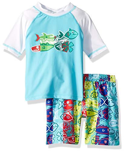 KIKO & MAX – Bañador para niño con Playera de Manga Corta, Hungry Sharks Turquesa, 2 Años