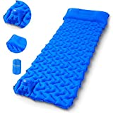 Sportneer Camping Sleeping Pad Built-in Pump, Inflatable Camp Mat Pads Lightweight Compact Tent Air Mattress with Pillow for Camping, Backpacking, Hiking, Outdoor Traveling
