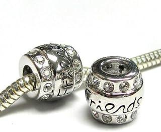 65c4999d8 Queenberry .925 Sterling Silver Friend CZ Bead for European Chamilia Biagi  Troll Pandora Charm Bracelets