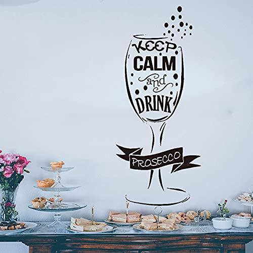 112x48cm (Personalizar Nombre y Color) Pegatinas de Pared de Copa de Vino Sala de Estar Bar Calcomanía de Pared Divertida Vinilo Decoración del hogar