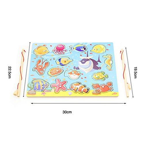 ABBY Les Jouets pour Enfants en Bois magnétique Canne à pêche Chat pêcheur Puzzle Doubler au Cours de pêche