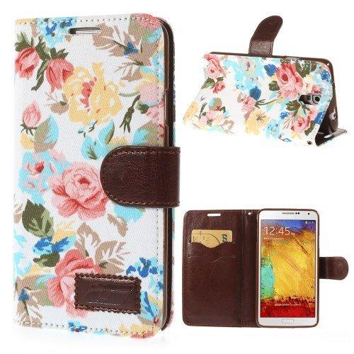 Unbekannt Flip Case Handy-Hülle Business Case zu Samsung Galaxy Note 3 Neo 3G / SM-N750, Galaxy Note 3 Neo LTE/GT-N7505 Blumen Frühling Sommer Weißtöne