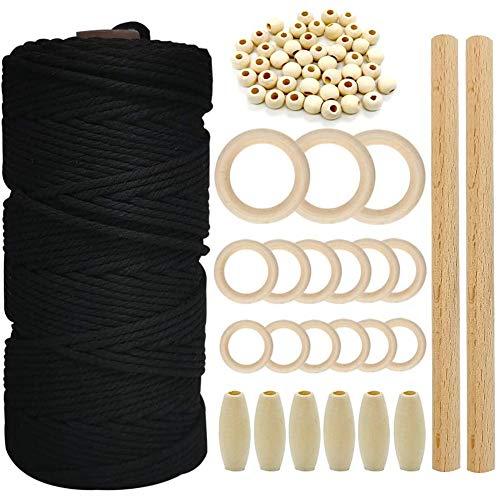 Gesh Juego de cuerda de algodón de macramé, cordón de algodón de 3 mm, cuentas de madera, anillos de madera para manualidades y tejer, perchas de Navidad DeCor